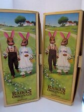 2 ROBERT RAIKES WOOD REBECCA & CALVIN 1ST EDITION EASTER RABBITS NEW IN BOX COA