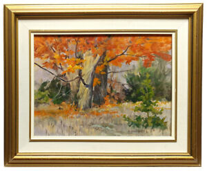 Signed Original 1992 Painting by Canadian Artist BRENDA CARTER – Autumn Maples