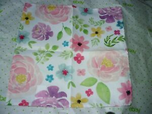 Design Group Fabric Cloth Napkins Multi Color Floral Roses  Set of 6 New