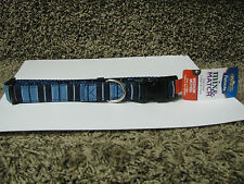 """Petmate Dog Collar, Blue Striped, Medium, 14-20""""x3/4""""-new with tags!"""