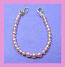 Barbie Dreamz LIGHT PINK Graduated Pearl Necklace Vintage REPRO Doll Jewelry