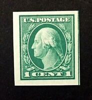 US Stamp, Scott #481 1916 M/NH XF/Sup 1c imperf with large margins. Rich color.