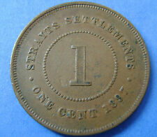 Straits Settlements   1 cent one cent 1897 Queen Victoria KM# 16 Nice