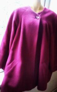 ALEXON Raspberry Red Pure New Wool Mohair Blend Vintage Coat UK 12 EU 38 V.G.C