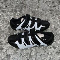 Hiland Clipless Bike Cycling Mens Shoes Size 10  Black 3 Strap Hook