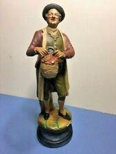 Vintage Man with Apple Basket Ceramic 10 1/4 inch tall figurine