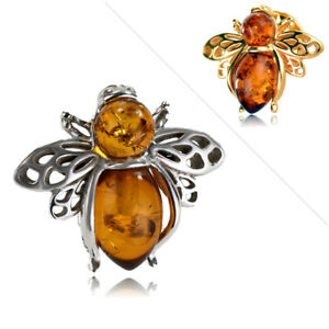 Sterling Silver Brooch Amber Bee Brown Pin Push Back 925 ABBSS
