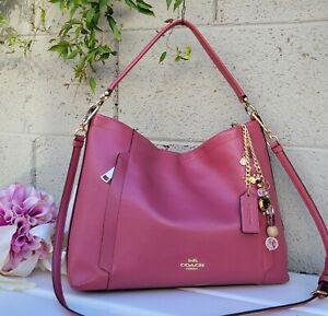 Coach 24770 ROUGE PINK e/w leather hobo handbag purse satchel crossbody bag EUC