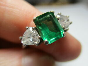 STERLING SILVER 925 ESTATE RADIANT GREEN CUBIC ZIRCONIA W ACCENTS RING SIZE 6.5