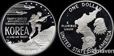 1991 P Korean War Silver Dollar Deep Cameo Gem Proof No Reserve