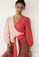 NWT Anthropologie Sz Large Farm Rio Colorblocked Wrap Blouse Pink Cotton