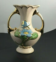 """Vintage Hull Art Pottery Pink Vase with Blue MAGNOLIA Flowers Gold Trim 6"""" Tall"""