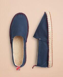BROOKS BROTHERS 1818 Men's Canvas Espadrilles 12 Navy Blue Red Fleece Jute Shoes