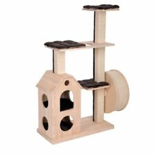 Scratching Cat Tree Made From Pine Wood Two Storey Den 2 Platforms Wheel Large