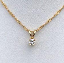 14K GOLD SOLITAIRE DIAMOND PENDANT 1/10CT