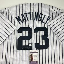 Autographed/Signed DON MATTINGLY New York Yankees Pinstripe Jersey JSA COA Auto