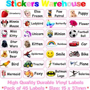 45 Custom Stick On Personalised Name Labels Stickers Tags School Kids Nursery