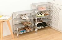 3 Tier Shoes Rack Stand Storage Organizer Fabric Shelf Holder Stackable Closet