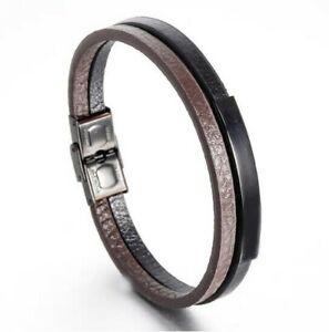 FAMA Black & Brown Double Leather Strap Bracelet w/ Black Stainless Steel Plate