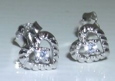 STERLING SILVER (925) HEART SIMULATED DIAMOND CLUSTER STUD EARRINGS (g51050)