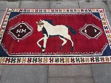 Old Traditional Hand Made Persian Gabbeh Oriental Wool Red Rug 187x110cm