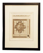 Framed antique French Louis XIII architectural detail print cieling panel 1866