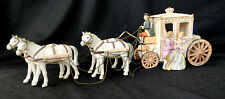 Ardalt Lighted Musical Stagecoach with 4 Horses Japan Porcelain Lamp Gold Accent