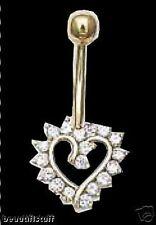 Charm Cz Navel Belly Bar Usa< 00006000 /a> 14k Karat Yellow Gold Open Heart