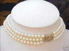 "3 ROWS 6-7MM White Akoya Cultured Pearl Choker Necklace 16-18"" YYX7"
