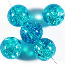 Lot de 20 perles craquelées en verre 10mm Bleu