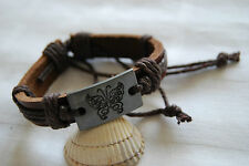 Brown leather bracelet brown cord for women girls adjustable butterfly motif