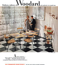 Woodard Wrought Iron Furniture ALLEGRO GROUP Contemporary Design 1953 Print Ad