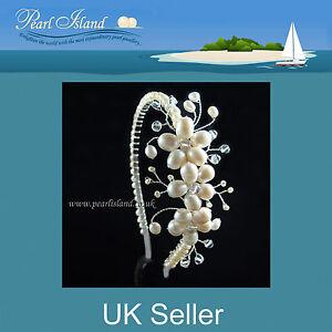 Countessa Freshwater Pearl Side Tiara, Wedding, Bridal, Handmade by Pearl Island