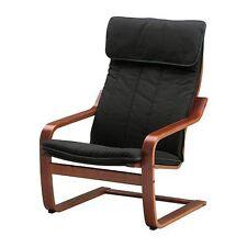Ikea Poang Chair Medium Brown/ Ransta Black Cushion New