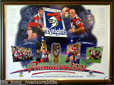 NEWCASTLE KNIGHTS 2001 NRL PREMIERS POSTER FRAMED FULLY GLASSED MEMORABILIA