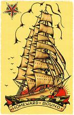 SJP115 Homeward Bound Ship Sailor Jerry Traditional style Flash poster print