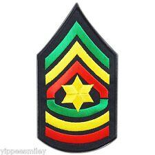 Sergeant Major Army Star Chevrons Rasta Reggae Jamaica Bob Iron-On Patches #0600