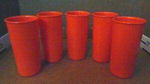 Tupperware #117 Shiny Orange Tumbler Glasses 6 oz  Lot of 5  G14