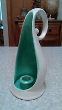 RED WING POTTERY IVORY WITH GREEN INTERIOR CANDLE HOLDER