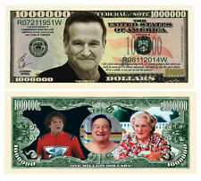 Robin Williams one million Novelty Dollar Bill plus Protector & Free Shipping