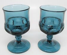 Indiana Glass King's Crown Thumbprint Blue Pair Cordial Glasses Sherry Goblets
