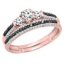 10K Rose Gold White Sapphire, Black & White Diamond Bridal Ring Set (Size 7)