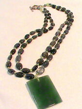 Green Stone Pendant Necklace with double strand of blue and green glass beads
