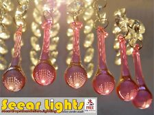 6 CHANDELIER CUT GLASS CRYSTALS ORB BEADS DROPS PINK CHRISTMAS TREE DECORATIONS