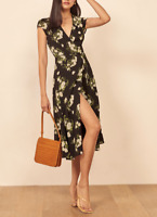 REFORMATION Carina Midi Wrap Dress Celeste Print Size M Orig. $218 NWT