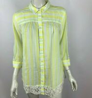 Anthropologie Edme Esyllte Lace Blouse Top Striped 3/4 Sleeve Collared Women 12