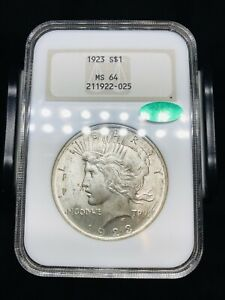 1923 Silver Peace Dollar NGC MS64 CAC Old Fatty Holder - Well Struck