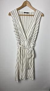 Mango Ladies Dress Size S / UK 8  White Striped with belt Summer Holiday