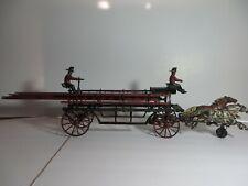 1890s Pratt & Letchworth Cast Iron Horse Drawn Hook & Ladder w/ 2 Driver