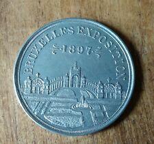 Médaille, pièce, Exposition Universelle de Bruxelles, 1897, métal léger alu?